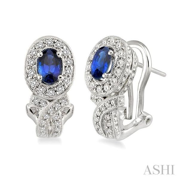 6x4MM Oval Cut Sapphire and 1 Ctw Round Cut Diamond Earrings in 14K White Gold Trinity Diamonds Inc. Tucson, AZ
