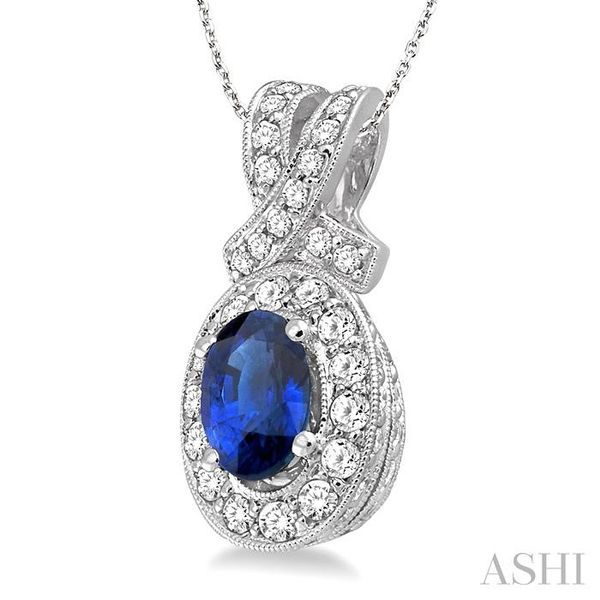 7x5mm Oval Cut Sapphire and 5/8 Ctw Round Cut Diamond Pendant in 14K White Gold with chain Image 2 Trinity Diamonds Inc. Tucson, AZ