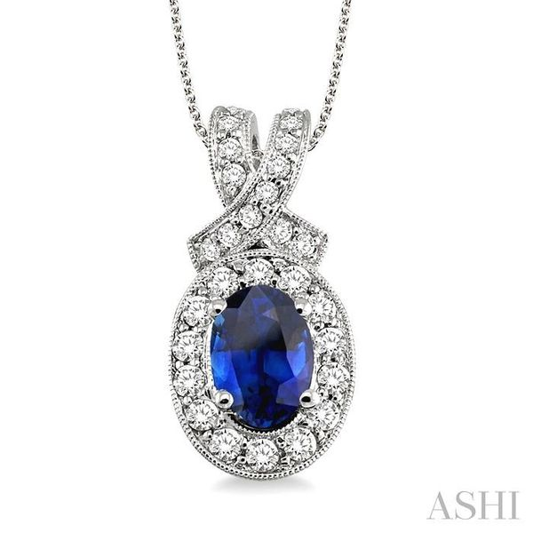 7x5mm Oval Cut Sapphire and 5/8 Ctw Round Cut Diamond Pendant in 14K White Gold with chain Trinity Diamonds Inc. Tucson, AZ