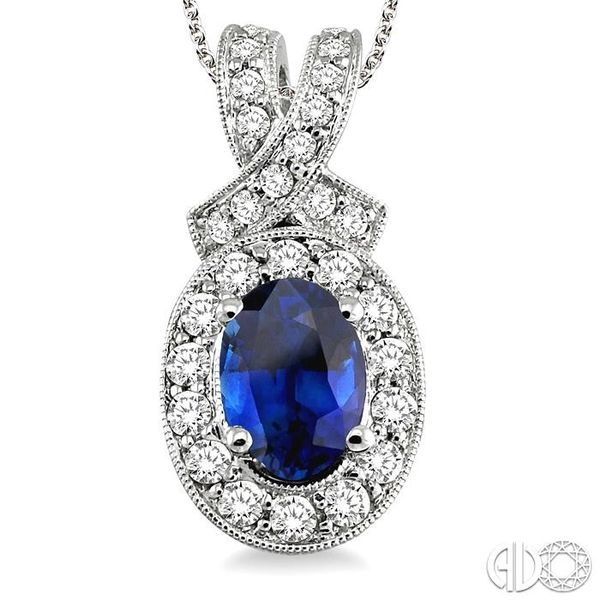 7x5mm Oval Cut Sapphire and 5/8 Ctw Round Cut Diamond Pendant in 14K White Gold with chain Image 3 Trinity Diamonds Inc. Tucson, AZ