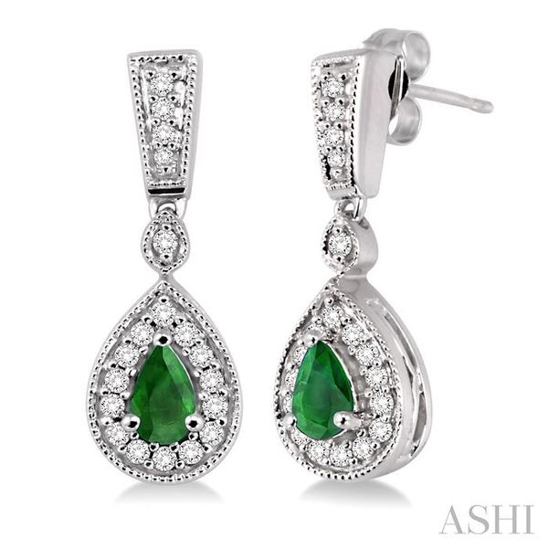 5x3MM Pear Shape Emerald and 1/3 Ctw Round Cut Diamond Earrings in 14K White Gold Trinity Diamonds Inc. Tucson, AZ
