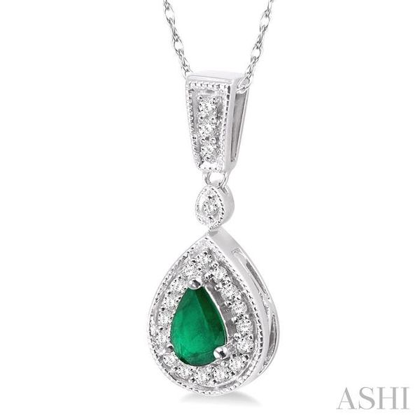 6x4mm Pear Shape Emerald and 1/6 Ctw Round Cut Diamond Pendant in 14K White Gold with Chain Image 2 Trinity Diamonds Inc. Tucson, AZ