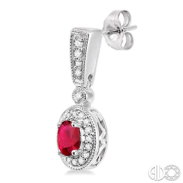 5x3MM Oval Cut Ruby and 1/3 Ctw Round Cut Diamond Earrings in 14K White Gold Image 3 Trinity Diamonds Inc. Tucson, AZ