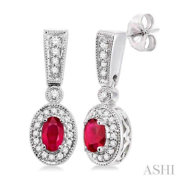 5x3MM Oval Cut Ruby and 1/3 Ctw Round Cut Diamond Earrings in 14K White Gold Trinity Diamonds Inc. Tucson, AZ