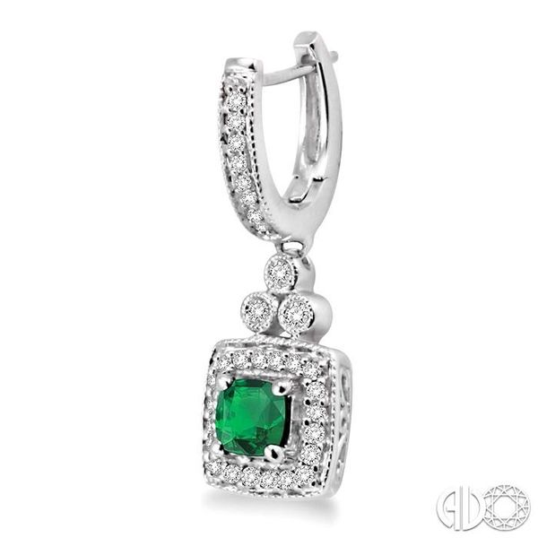 4x4MM Cushion Cut Emerald and 1/3 Ctw Round Cut Diamond Earrings in 14K White Gold Image 3 Trinity Diamonds Inc. Tucson, AZ