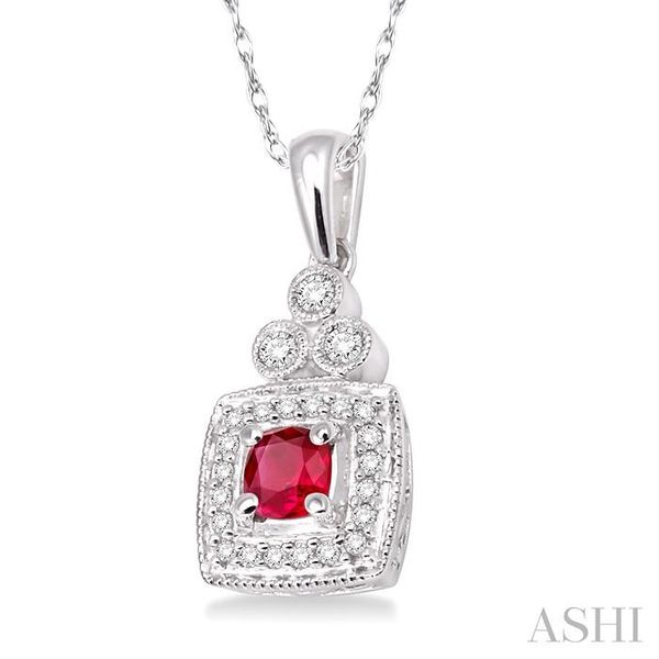 4x4MM Cushion Cut Ruby and 1/5 Ctw Round Cut Diamond Pendant in 14K White Gold with Chain Image 2 Trinity Diamonds Inc. Tucson, AZ