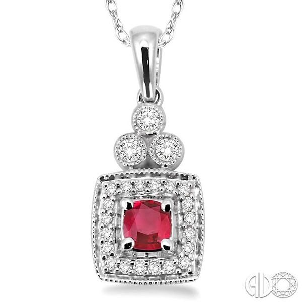 4x4MM Cushion Cut Ruby and 1/5 Ctw Round Cut Diamond Pendant in 14K White Gold with Chain Image 3 Trinity Diamonds Inc. Tucson, AZ