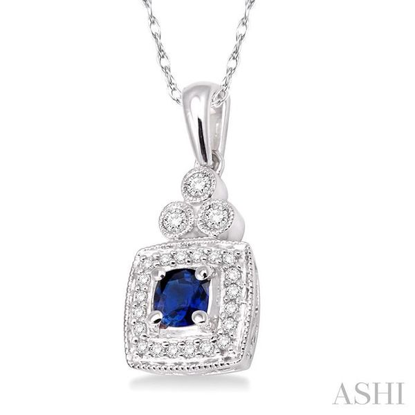 4x4MM Cushion Cut Sapphire and 1/5 Ctw Round Cut Diamond Pendant in 14K White Gold with Chain Image 2 Trinity Diamonds Inc. Tucson, AZ