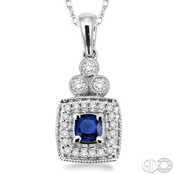 4x4MM Cushion Cut Sapphire and 1/5 Ctw Round Cut Diamond Pendant in 14K White Gold with Chain Image 3 Trinity Diamonds Inc. Tucson, AZ