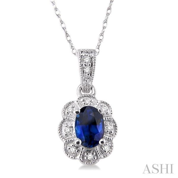 6x4mm Oval Cut Sapphire and 1/20 Ctw Single Cut Diamond Pendant in 10K White Gold with Chain Trinity Diamonds Inc. Tucson, AZ