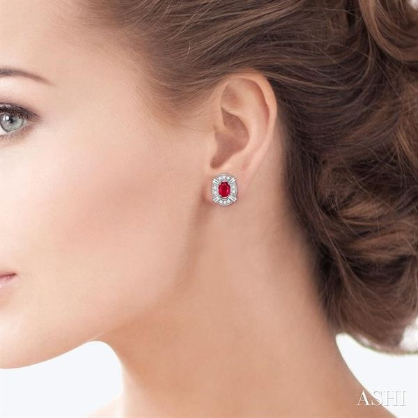 5x3 MM Oval Cut Ruby and 1/10 Ctw Single Cut Diamond Earrings in 10K White Gold Image 4 Trinity Diamonds Inc. Tucson, AZ