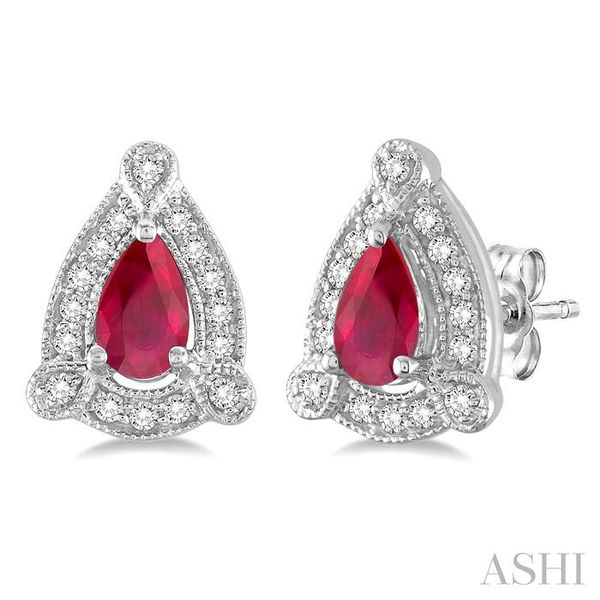 5x3 mm Pear Shape Ruby and 1/6 Ctw Round Cut Diamond Earrings in 14K White Gold Trinity Diamonds Inc. Tucson, AZ