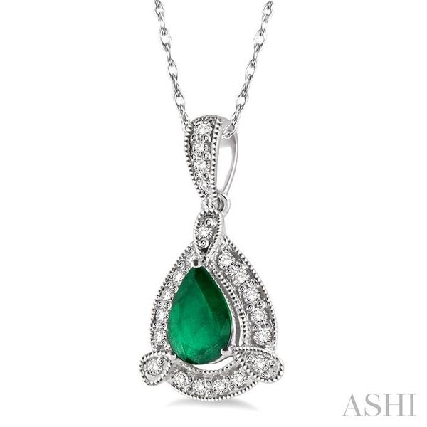 6x4 mm Pear Shape Emerald and 1/10 Ctw Round Cut Diamond Pendant in 14K White Gold with Chain Image 2 Trinity Diamonds Inc. Tucson, AZ