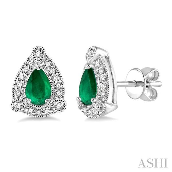 5x3 mm Pear Shape Emerald and 1/6 Ctw Round Cut Diamond Earrings in 10K White Gold Trinity Diamonds Inc. Tucson, AZ