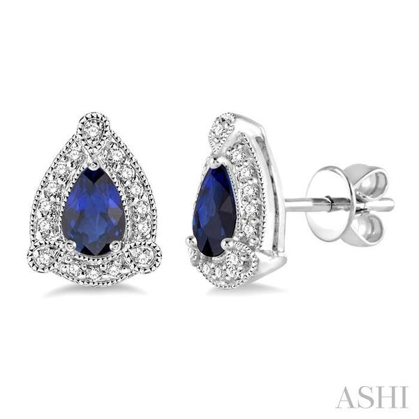 5x3 mm Pear Shape Sapphire and 1/6 Ctw Single Cut Diamond Earrings in 10K White Gold Trinity Diamonds Inc. Tucson, AZ