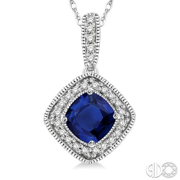 5x5 MM Cushion Cut Sapphire and 1/5 Ctw Round Cut Diamond Pendant in 14K White Gold with Chain Image 3 Trinity Diamonds Inc. Tucson, AZ