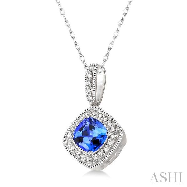 5x5 MM Cushion Cut Tanzanite and 1/5 Ctw Round Cut Diamond Pendant in 14K White Gold with Chain Image 2 Trinity Diamonds Inc. Tucson, AZ