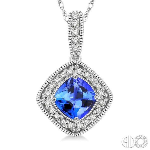 5x5 MM Cushion Cut Tanzanite and 1/5 Ctw Round Cut Diamond Pendant in 14K White Gold with Chain Image 3 Trinity Diamonds Inc. Tucson, AZ