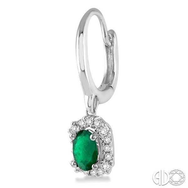 5x3 MM Oval Cut Emerald and 1/6 Ctw Round Cut Diamond Earrings in 14K White Gold Image 3 Trinity Diamonds Inc. Tucson, AZ