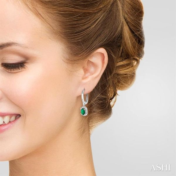 5x3 MM Oval Cut Emerald and 1/6 Ctw Round Cut Diamond Earrings in 14K White Gold Image 4 Trinity Diamonds Inc. Tucson, AZ