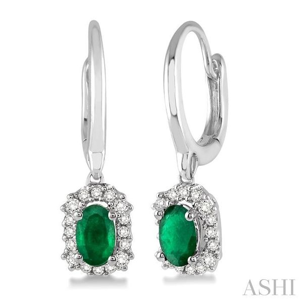 5x3 MM Oval Cut Emerald and 1/6 Ctw Round Cut Diamond Earrings in 14K White Gold Trinity Diamonds Inc. Tucson, AZ