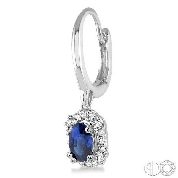 5x3 MM Oval Cut Sapphire and 1/6 Ctw Round Cut Diamond Earrings in 14K White Gold Image 3 Trinity Diamonds Inc. Tucson, AZ