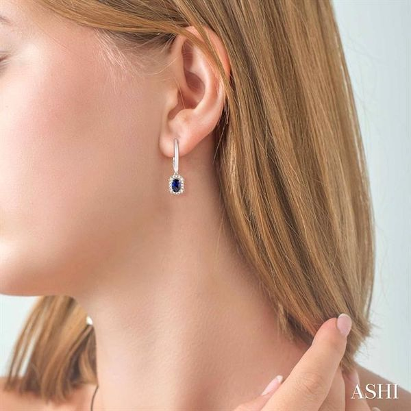 5x3 MM Oval Cut Sapphire and 1/6 Ctw Round Cut Diamond Earrings in 14K White Gold Image 4 Trinity Diamonds Inc. Tucson, AZ