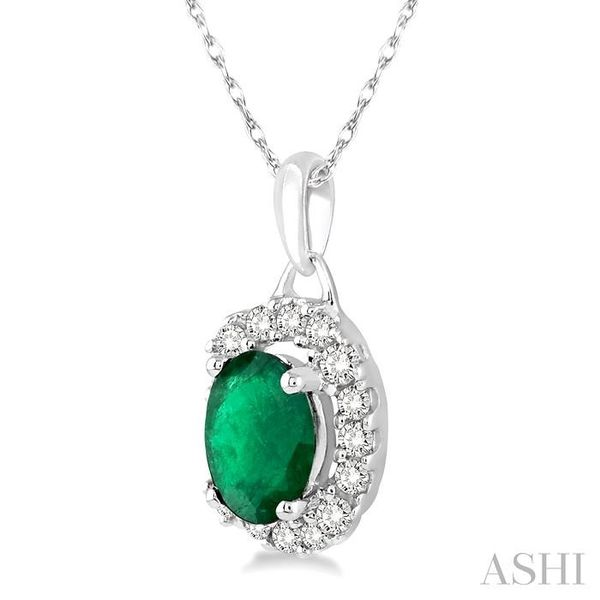 6x4 MM Oval Cut Emerald and 1/6 Ctw Round Cut Diamond Pendant in 14K White Gold with Chain Image 2 Trinity Diamonds Inc. Tucson, AZ