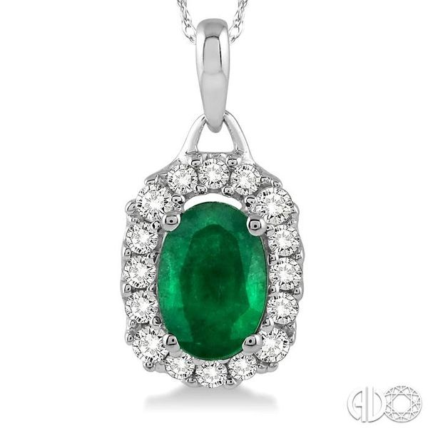 6x4 MM Oval Cut Emerald and 1/6 Ctw Round Cut Diamond Pendant in 14K White Gold with Chain Image 3 Trinity Diamonds Inc. Tucson, AZ