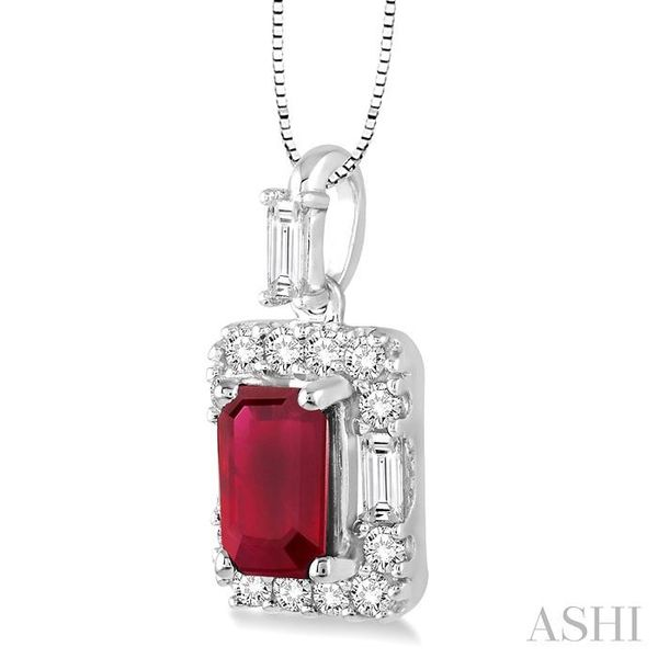 6x4 MM Octagon Cut Ruby and 1/3 Ctw Round Cut Diamond Pendant in 14K White Gold with Chain Image 2 Trinity Diamonds Inc. Tucson, AZ