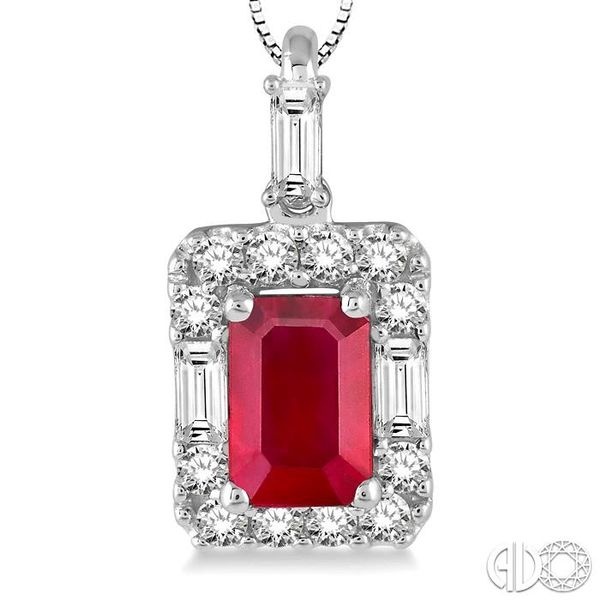 6x4 MM Octagon Cut Ruby and 1/3 Ctw Round Cut Diamond Pendant in 14K White Gold with Chain Image 3 Trinity Diamonds Inc. Tucson, AZ