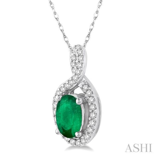 6x4 MM Oval Cut Emerald and 1/10 Ctw Round Cut Diamond Pendant in 14K White Gold with Chain Image 2 Trinity Diamonds Inc. Tucson, AZ
