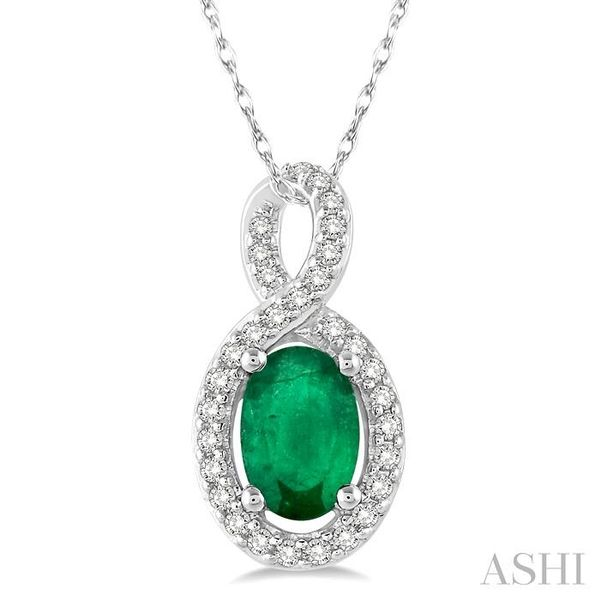 6x4 MM Oval Cut Emerald and 1/10 Ctw Round Cut Diamond Pendant in 14K White Gold with Chain Trinity Diamonds Inc. Tucson, AZ