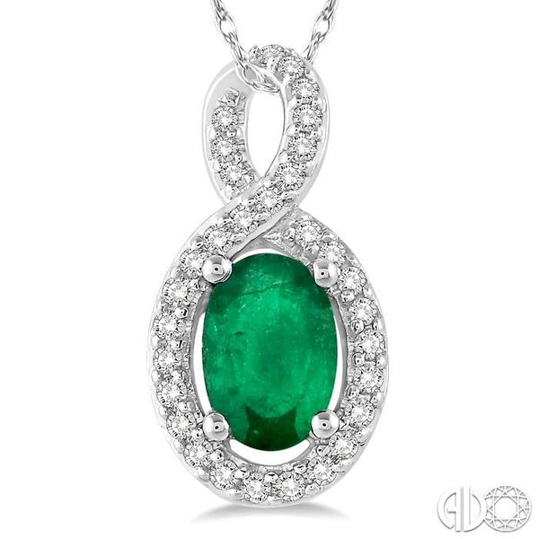 6x4 MM Oval Cut Emerald and 1/10 Ctw Round Cut Diamond Pendant in 14K White Gold with Chain Image 3 Trinity Diamonds Inc. Tucson, AZ