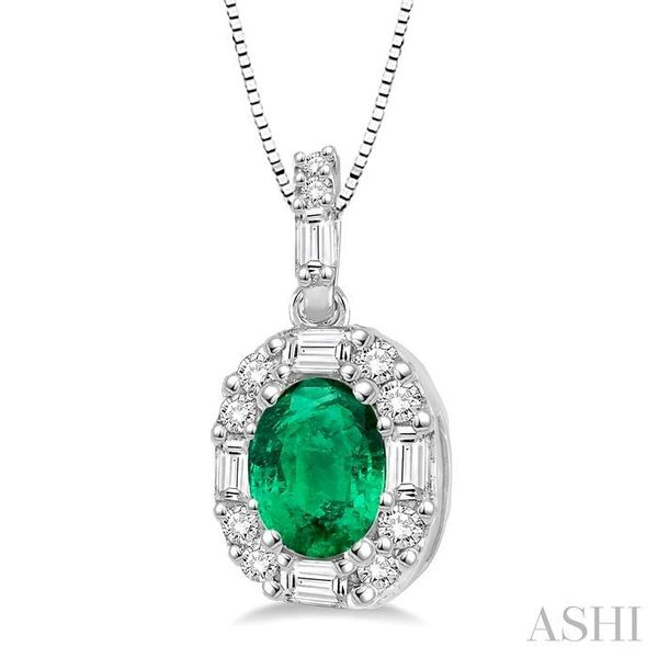 6x4 MM Oval Shape Emerald and 1/4 Ctw Diamond Pendant in 14K White Gold with Chain Image 2 Trinity Diamonds Inc. Tucson, AZ