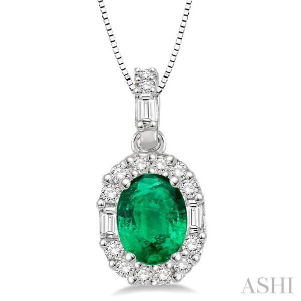6x4 MM Oval Shape Emerald and 1/4 Ctw Diamond Pendant in 14K White Gold with Chain Trinity Diamonds Inc. Tucson, AZ
