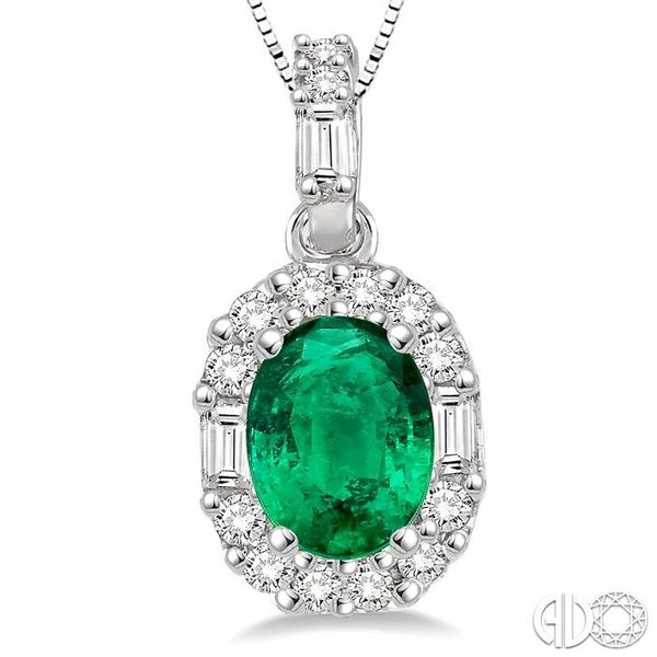 6x4 MM Oval Shape Emerald and 1/4 Ctw Diamond Pendant in 14K White Gold with Chain Image 3 Trinity Diamonds Inc. Tucson, AZ