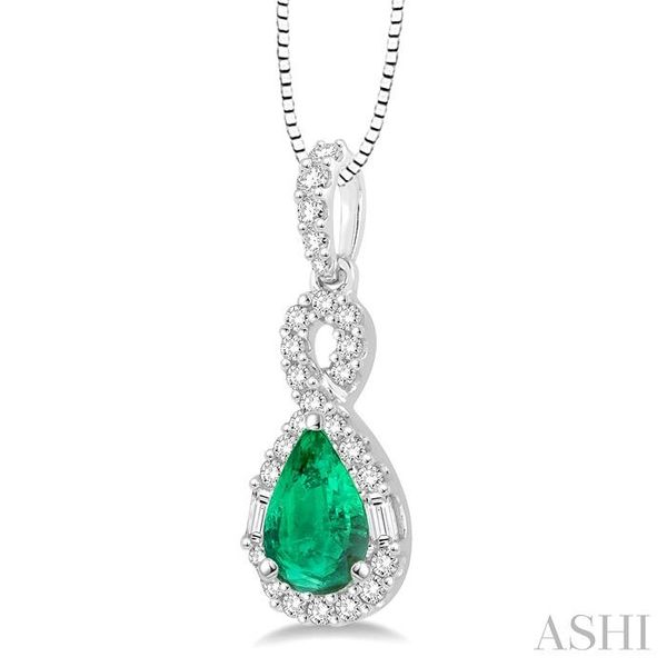 7x5 MM Pear Shape Emerald and 1/3 Ctw Diamond Pendant in 14K White Gold with Chain Image 2 Trinity Diamonds Inc. Tucson, AZ