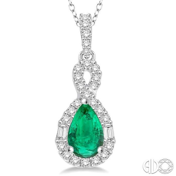 7x5 MM Pear Shape Emerald and 1/3 Ctw Diamond Pendant in 14K White Gold with Chain Image 3 Trinity Diamonds Inc. Tucson, AZ