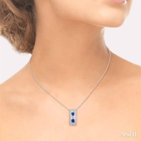 3x3 MM Princess Cut Sapphire and 1/5 Ctw Round Cut Diamond Pendant in 14K White Gold with Chain Image 4 Trinity Diamonds Inc. Tucson, AZ