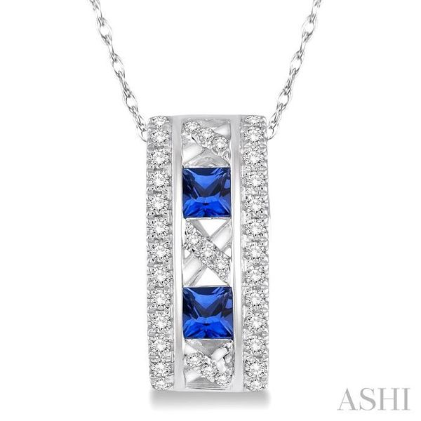3x3 MM Princess Cut Sapphire and 1/5 Ctw Round Cut Diamond Pendant in 14K White Gold with Chain Trinity Diamonds Inc. Tucson, AZ