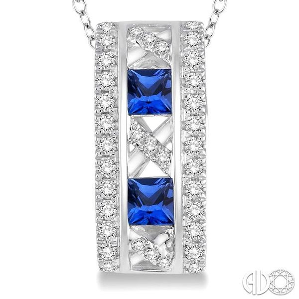 3x3 MM Princess Cut Sapphire and 1/5 Ctw Round Cut Diamond Pendant in 14K White Gold with Chain Image 3 Trinity Diamonds Inc. Tucson, AZ