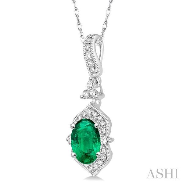 6x4 MM Oval Shape Emerald and 1/5 Ctw Diamond Pendant in 14K White Gold with Chain Image 2 Trinity Diamonds Inc. Tucson, AZ