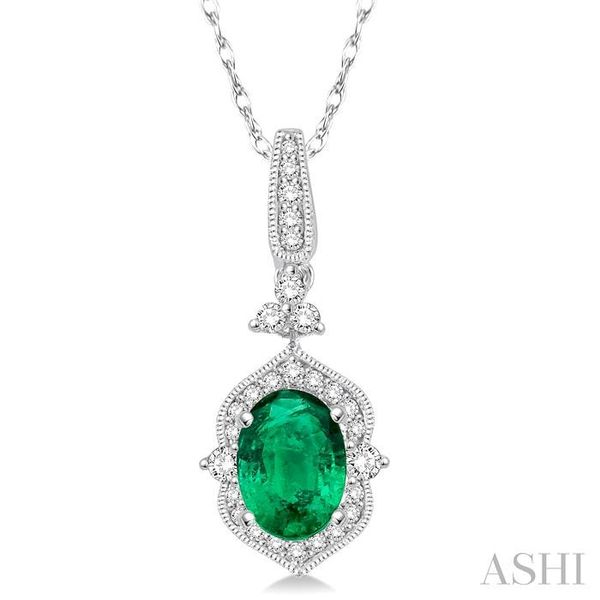 6x4 MM Oval Shape Emerald and 1/5 Ctw Diamond Pendant in 14K White Gold with Chain Trinity Diamonds Inc. Tucson, AZ