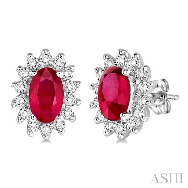 1/5 Ctw Round Cut Diamond and Oval Cut 5x3mm Ruby Center Sunflower Precious Earrings in 10K White Gold Trinity Diamonds Inc. Tucson, AZ