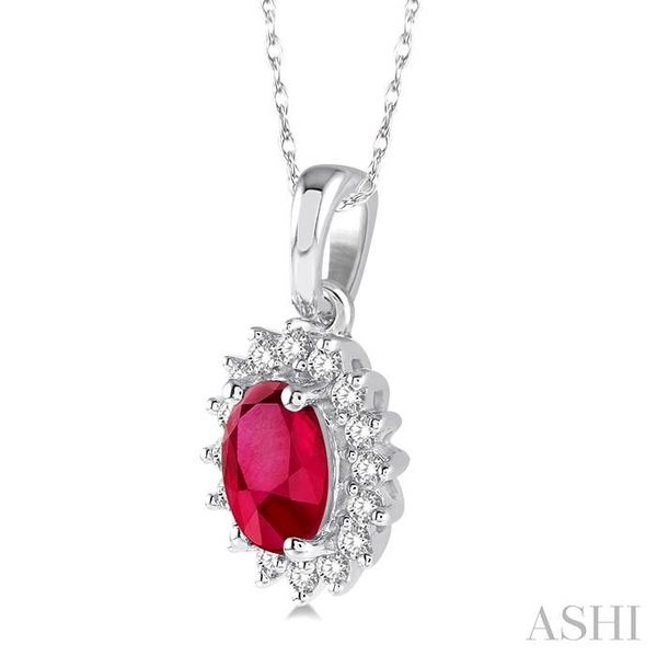 1/8 Ctw Round Cut Diamond and Oval Cut 6x4mm Ruby Center Sunflower Precious Pendant in 10K White Gold with chain Image 2 Trinity Diamonds Inc. Tucson, AZ