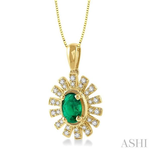 1/8 ctw Floral Pattern 6x4mm Oval Cut Emerald & Round Cut Diamond Precious Pendant With Chain in 10K Yellow Gold Image 2 Trinity Diamonds Inc. Tucson, AZ