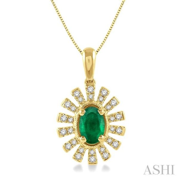 1/8 ctw Floral Pattern 6x4mm Oval Cut Emerald & Round Cut Diamond Precious Pendant With Chain in 10K Yellow Gold Trinity Diamonds Inc. Tucson, AZ