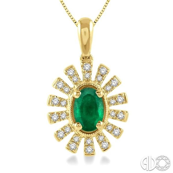 1/8 ctw Floral Pattern 6x4mm Oval Cut Emerald & Round Cut Diamond Precious Pendant With Chain in 10K Yellow Gold Image 3 Trinity Diamonds Inc. Tucson, AZ