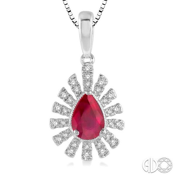 1/8 ctw Bar Accent Pear Shape 6x4mm Ruby & Round Cut Diamond Precious Pendant With Chain in 10K White Gold Image 3 Trinity Diamonds Inc. Tucson, AZ